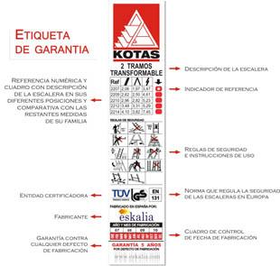 Etiqueta de Garantía escaleras Kotas Eskalia